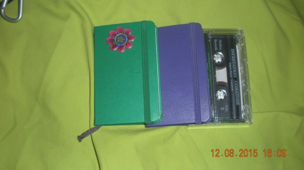 my Mini Moles Moleskine journals the size of an audio cassette